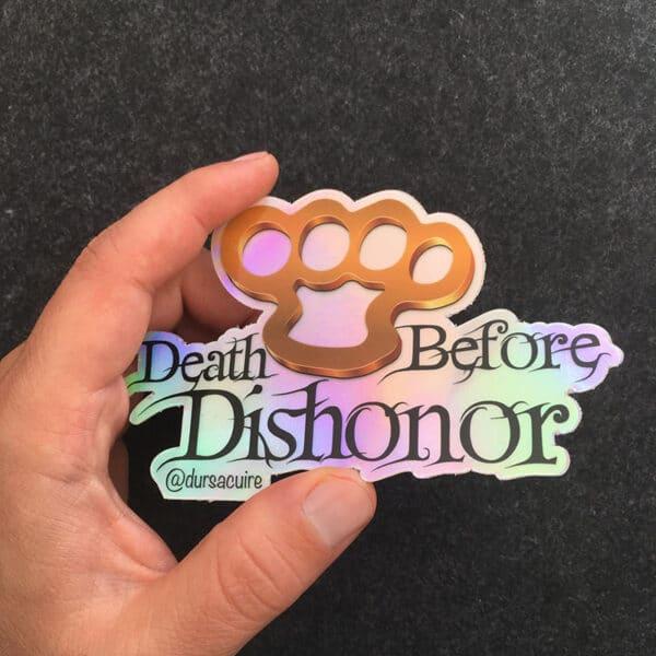 Stickers pour les motards - Autocollant coup de poing américain - Death before dishonor - Durs à Cuire